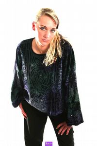 15-1706~Gothic Velvet Top~Long Sleeved Velvet Top with Embroidered Detail~By Bare/Fashion X